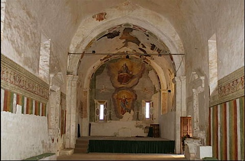 A view of the church in the fortress monastery of Ocre near l'Aquila in Abruzzo, Italy - Ideal castle holiday at affordable rates