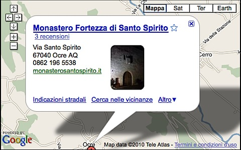 map of location fortress monastery Santo Spirito Ocre near L'Aquila in Abruzzo Italy
