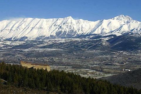 View of the Gran Sasso d'Italia in Abruzzo from the Fortress Monastery of Santo SPirito in Ocre