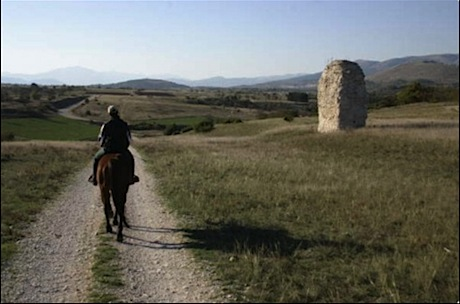 horseback riding at castle hotel fortress monastery of Santo Spirito in Abruzzo Italy