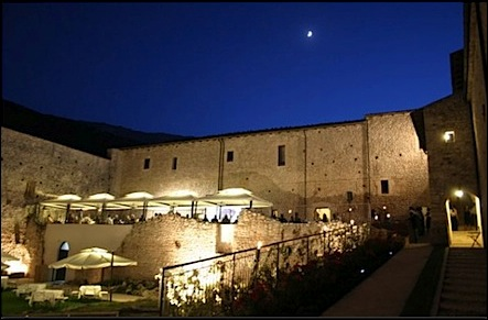 small castle hotel outdoor terrace - fortress monastery of santo spirito in Abruzzo Italy