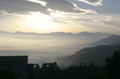 The breath taking view of the mountains surrounding the Monastery Fortress of Santo Spirito near L'Aquila
