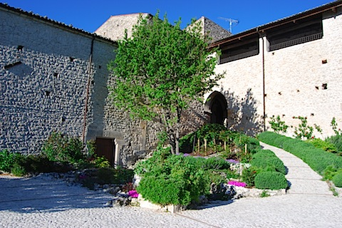 External photo of the fortress monastery of Santo Spirito near L'Aquila in Abruzzo, Italy
